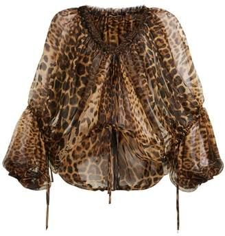 Saint Laurent Leopard Print Silk Blouse - Womens - Leopard