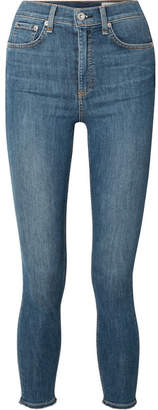 Rag & Bone Cropped Frayed High-rise Skinny Jeans - Mid denim