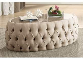 Furniture of America Racquelle Button Tufted Faux Marble Top Coffee Table