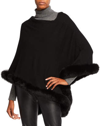 Sofia Cashmere Off-the-Shoulder Cashmere Poncho with Fur Trim