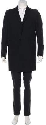 Balmain Twill Notch-Lapel Overcoat