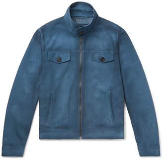 Prada Burnished-Leather Blouson Jacket