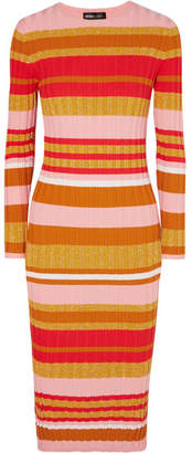 Stine Goya Jeanne Metallic Striped Ribbed-knit Midi Dress - Pink