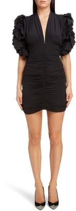 Isabel Marant Ruched Ruffle Sleeve Stretch Silk Body-Con Dress
