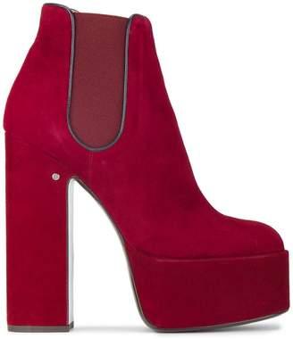 Laurence Dacade Red Suede 160 platform chelsea boots