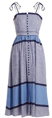 Gül Hürgel Gul Hurgel - Striped Linen Cotton Midi Dress - Womens - Dark Blue