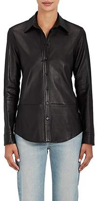 The Row Women's Nopa Leather Shirt - Black
