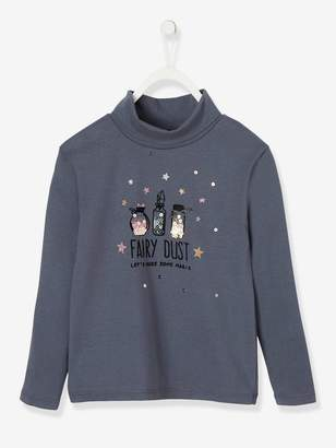 Vertbaudet Polo Neck Top with Fairy Dust Motif in Sequins & Glitter, for Girls