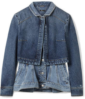 Layered Denim Peplum Jacket - Mid denim