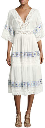 Queen & Pawn Anatole Deep-V Cotton-Silk Voile Midi Dress with Lace