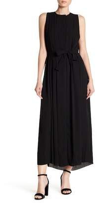 Joan Vass Sleeveless Pleated Sash Dress