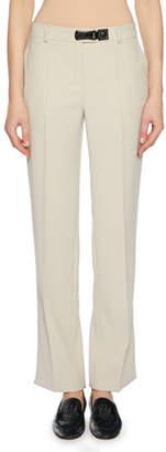 Giorgio Armani Mid-Rise Straight-Leg Cady Trousers w/ Side Vent Hem