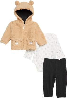 Little Me Bear Hoodie, Bodysuit & Pants Set