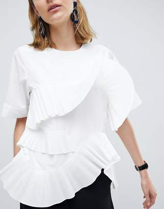 Asos Pleated Frill Top