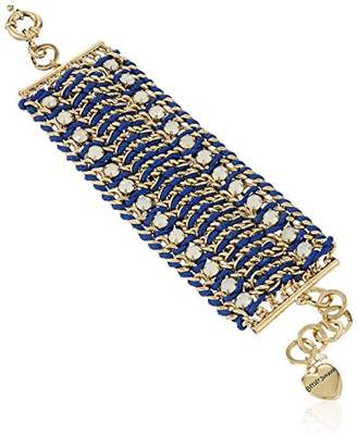 Betsey Johnson Woven Stone Wide Mesh Bracelet