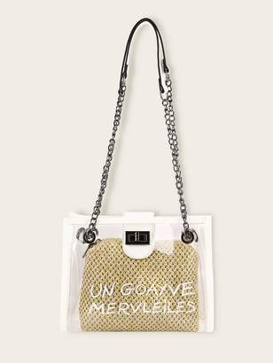 Shein Letter Print Tote Bag With Woven Inner Clutch