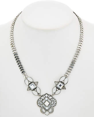 Downtown East Silver Plated Glass & Acrylic Statement Necklace