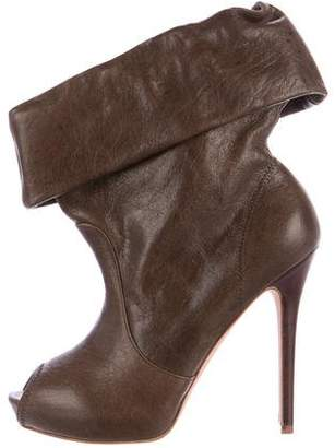 Alexander McQueen Leather Peep-Toe Ankle Boots