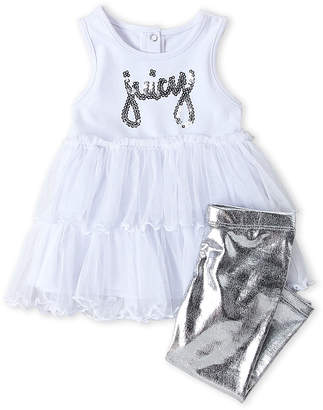 Juicy Couture Infant Girls) Sequin Logo Tutu Tunic & Metallic Leggings Set