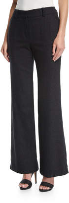 Trina Turk Wide-Leg Speckled Wool-Silk Trousers