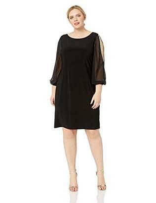 MSK Women's Plus Size Split Dress with Rhinestone Sleeve Trim