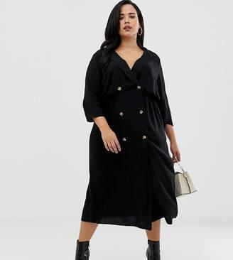 Asos DESIGN Curve double button through collared midi shirt dress