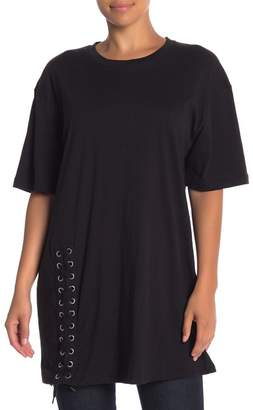 KENDALL + KYLIE Kendall & Kylie Lace-Up Short Sleeve Tee
