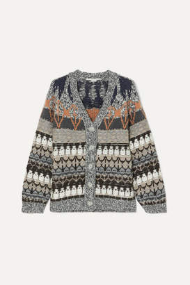 Stella McCartney Wool-blend Jacquard Cardigan - Blue