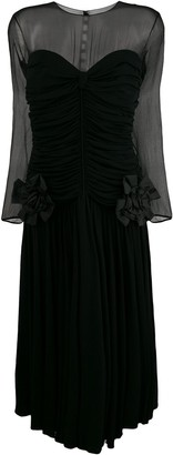 Nina Ricci Pre-Owned gathered sheer midi dress