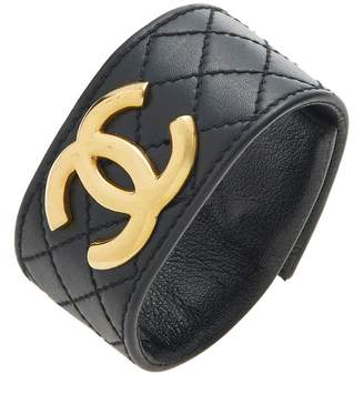 73d8af395c4 Chanel Black Quilted Leather  CC  Cuff