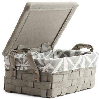 Small Lattice Lidded Storage Bin