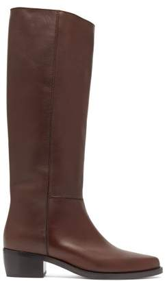 Legres - Knee High Leather Riding Boots - Womens - Dark Brown