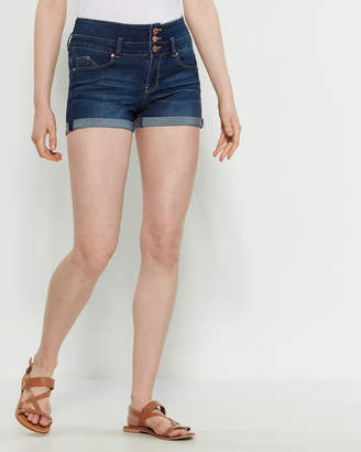 YMI Jeanswear Dark Wash Wanna Betta Butt Cuffed Denim Shorts
