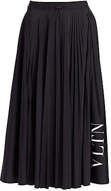 Valentino Women's Wool Plissé Logo Midi Skirt