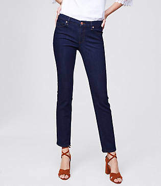 LOFT Tall Curvy Straight Leg Jeans in Dark Rinse Wash