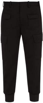 Neil Barrett Low Rise Slim Leg Crepe Cargo Trousers - Mens - Black