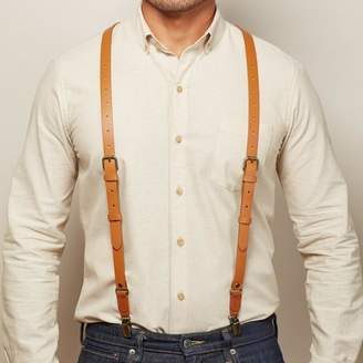 Blade + Blue Natural Tan Leather Buckle Skinny Suspenders