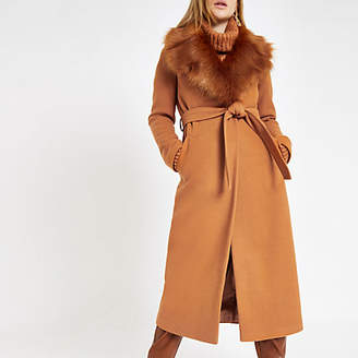 River Island Womens Brown belted faux fur robe coat