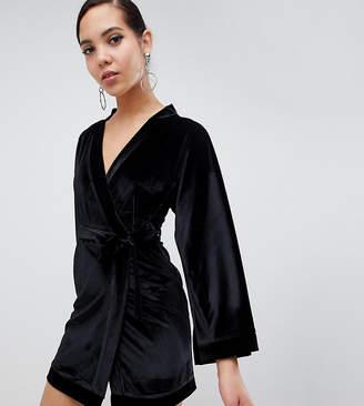 Missguided Tall velvet kimono sleeve belted mini dress in black