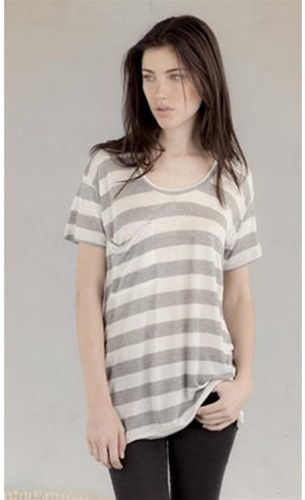 Alternative Apparel Bold Silk Striped Boyfriend Tee