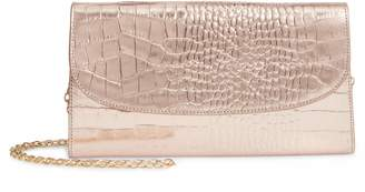 Nordstrom Croc Embossed Metallic Leather Clutch