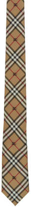 Burberry Beige Silk Equestrian Knight Check Stanfield Tie