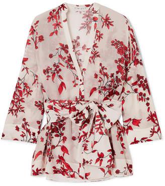 Alice + Olivia Alice Olivia - Rosario Floral-print Devoré Silk-blend Chiffon Wrap Top - Cream