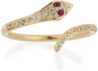 Ef Collection 14k Gold Diamond Snake Ring