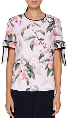 Ted Baker Cathe Peach Blossom Bow-Sleeve Top