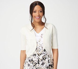 Isaac Mizrahi Live! Open Front Cropped Curved Hem Cardigan