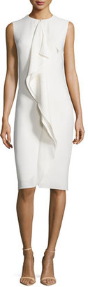 Ralph Lauren Collection Sleeveless Ruffle-Front Sheath Dress, Cream $1,750 thestylecure.com