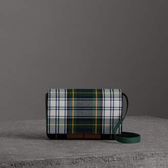 Burberry Tartan and Leather Wallet with Detachable Strap