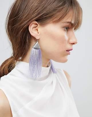 Asos Folded Metal Colour Pop Tassel Earrings