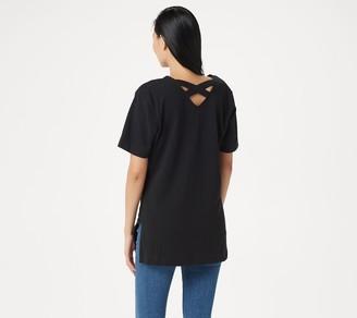 Denim & Co. Elbow-Sleeve Crisscross Back Oversized Knit Tunic
